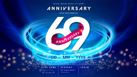 69 years anniversary  template on dark blue Abstract futuristic space background. 69th modern technology design celebrating numbers with Hi-tech network digital technology concept design elements.