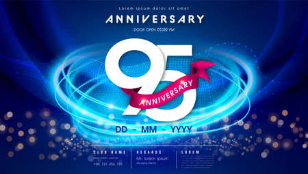 95 years anniversary  template on dark blue Abstract futuristic space background. 95th modern technology design celebrating numbers with Hi-tech network digital technology concept design elements.
