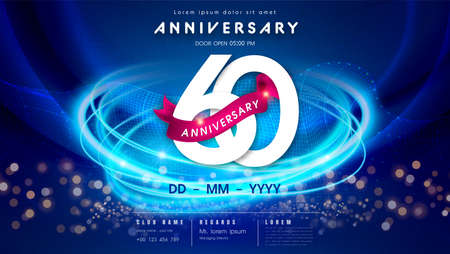 60 years anniversary  template on dark blue Abstract futuristic space background. 60th modern technology design celebrating numbers with Hi-tech network digital technology concept design elements.