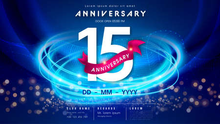 15 years anniversary  template on dark blue Abstract futuristic space background. 15th modern technology design celebrating numbers with Hi-tech network digital technology concept design elements.