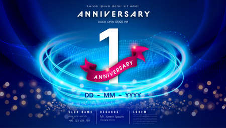 1 years anniversary  template on dark blue Abstract futuristic space background. 1st modern technology design celebrating numbers with Hi-tech network digital technology concept design elements. 写真素材