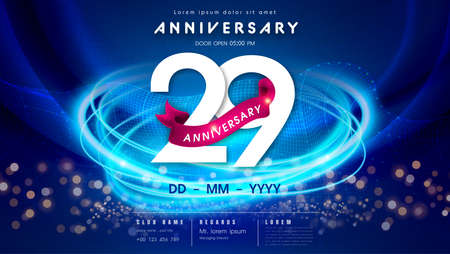 29 years anniversary  template on dark blue Abstract futuristic space background. 29th modern technology design celebrating numbers with Hi-tech network digital technology concept design elements.