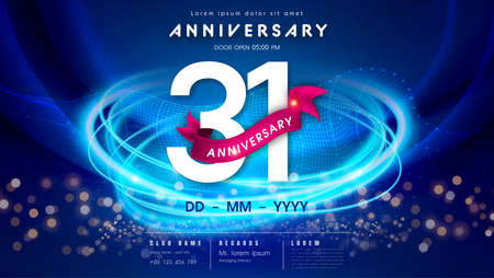 31 years anniversary  template on dark blue Abstract futuristic space background. 31st modern technology design celebrating numbers with Hi-tech network digital technology concept design elements.