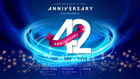 42 years anniversary   template on dark blue Abstract futuristic space background. 42nd modern technology design celebrating numbers with Hi-tech network digital technology concept design elements. 写真素材