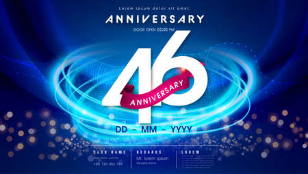 46 years anniversary   template on dark blue Abstract futuristic space background. 46th modern technology design celebrating numbers with Hi-tech network digital technology concept design elements.