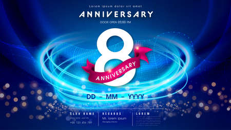 8 years anniversary  template on dark blue Abstract futuristic space background. 8th modern technology design celebrating numbers with Hi-tech network digital technology concept design elements.