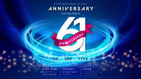 61 years anniversary  template on dark blue Abstract futuristic space background. 61st modern technology design celebrating numbers with Hi-tech network digital technology concept design elements.