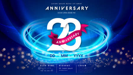 23 years anniversary  template on dark blue Abstract futuristic space background. 23rd modern technology design celebrating numbers with Hi-tech network digital technology concept design elements. 写真素材