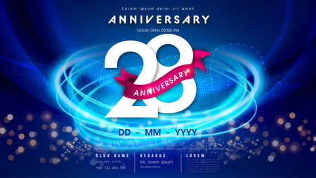 28 years anniversary  template on dark blue Abstract futuristic space background. 28th modern technology design celebrating numbers with Hi-tech network digital technology concept design elements.