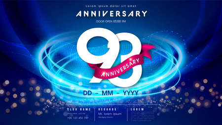 93 years anniversary  template on dark blue Abstract futuristic space background. 93rd modern technology design celebrating numbers with Hi-tech network digital technology concept design elements.  イラスト・ベクター素材