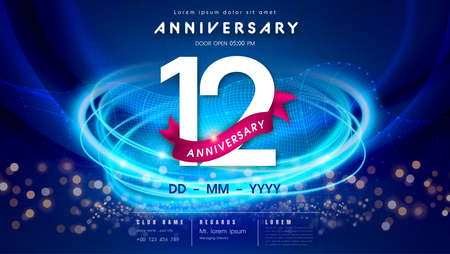 12 years anniversary   template on dark blue Abstract futuristic space background. 12th modern technology design celebrating numbers with Hi-tech network digital technology concept design elements. 写真素材