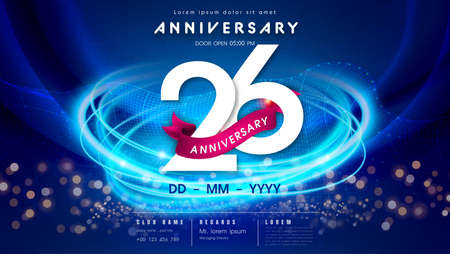 26 years anniversary  template on dark blue Abstract futuristic space background. 26th modern technology design celebrating numbers with Hi-tech network digital technology concept design elements.