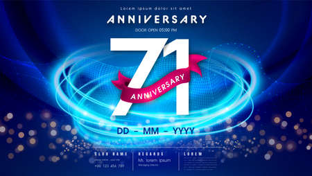 71 years anniversary  template on dark blue Abstract futuristic space background. 71st modern technology design celebrating numbers with Hi-tech network digital technology concept design elements.  イラスト・ベクター素材
