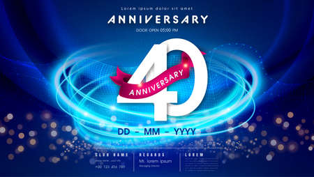 40 years anniversary  template on dark blue Abstract futuristic space background. 40th modern technology design celebrating numbers with Hi-tech network digital technology concept design elements. 写真素材