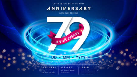 79 years anniversary  template on dark blue Abstract futuristic space background. 79th modern technology design celebrating numbers with Hi-tech network digital technology concept design elements.  イラスト・ベクター素材
