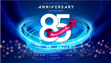 85 years anniversary  template on dark blue Abstract futuristic space background. 85th modern technology design celebrating numbers with Hi-tech network digital technology concept design elements.