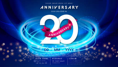 20 years anniversary  template on dark blue Abstract futuristic space background. 20th modern technology design celebrating numbers with Hi-tech network digital technology concept design elements.