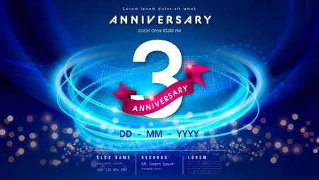 3 years anniversary  template on dark blue Abstract futuristic space background. 3rd modern technology design celebrating numbers with Hi-tech network digital technology concept design elements.