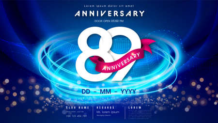 89 years anniversary  template on dark blue Abstract futuristic space background. 89th modern technology design celebrating numbers with Hi-tech network digital technology concept design elements.