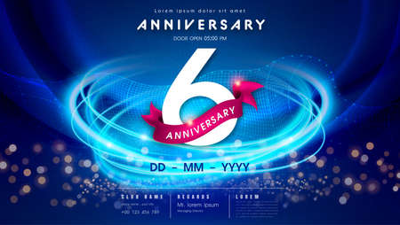 6 years anniversary  template on dark blue Abstract futuristic space background. 6th modern technology design celebrating numbers with Hi-tech network digital technology concept design elements.
