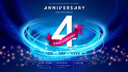 4 years anniversary  template on dark blue Abstract futuristic space background. 4th modern technology design celebrating numbers with Hi-tech network digital technology concept design elements.