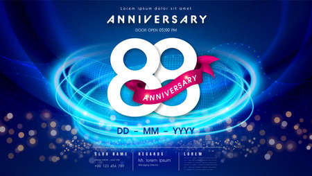 88 years anniversary  template on dark blue Abstract futuristic space background. 88th modern technology design celebrating numbers with Hi-tech network digital technology concept design elements.