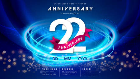 22 years anniversary  template on dark blue Abstract futuristic space background. 22nd modern technology design celebrating numbers with Hi-tech network digital technology concept design elements.