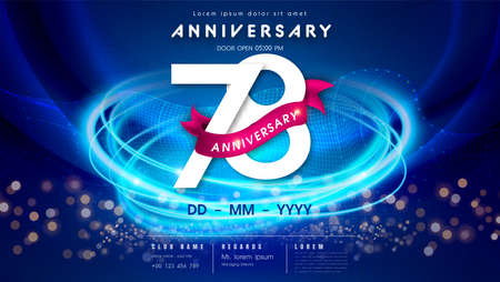 78 years anniversary  template on dark blue Abstract futuristic space background. 78th modern technology design celebrating numbers with Hi-tech network digital technology concept design elements.