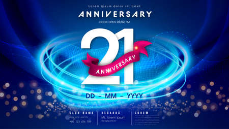 21 years anniversary  template on dark blue Abstract futuristic space background. 21st modern technology design celebrating numbers with Hi-tech network digital technology concept design elements.