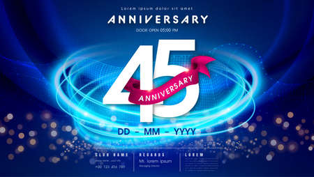 45 years anniversary  template on dark blue Abstract futuristic space background. 45th modern technology design celebrating numbers with Hi-tech network digital technology concept design elements.