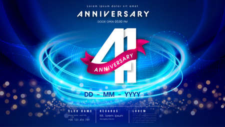 41 years anniversary  template on dark blue Abstract futuristic space background. 41st modern technology design celebrating numbers with Hi-tech network digital technology concept design elements. 写真素材