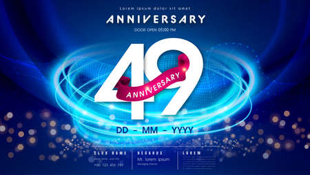 49 years anniversary  template on dark blue Abstract futuristic space background. 49th modern technology design celebrating numbers with Hi-tech network digital technology concept design elements. 写真素材