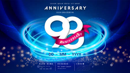 98 years anniversary  template on dark blue Abstract futuristic space background. 98th modern technology design celebrating numbers with Hi-tech network digital technology concept design elements.