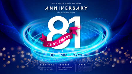 81 years anniversary  template on dark blue Abstract futuristic space background. 81st modern technology design celebrating numbers with Hi-tech network digital technology concept design elements.