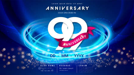 99 years anniversary  template on dark blue Abstract futuristic space background. 99th modern technology design celebrating numbers with Hi-tech network digital technology concept design elements.