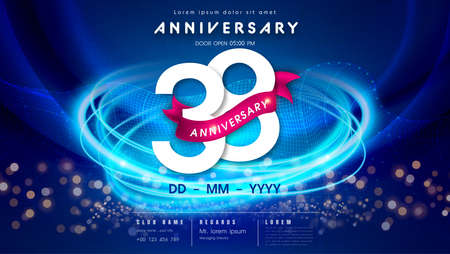 38 years anniversary  template on dark blue Abstract futuristic space background. 38th modern technology design celebrating numbers with Hi-tech network digital technology concept design elements. 写真素材