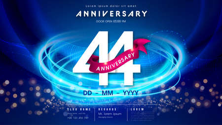 44 years anniversary  template on dark blue Abstract futuristic space background. 44th modern technology design celebrating numbers with Hi-tech network digital technology concept design elements.