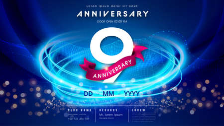 9 years anniversary  template on dark blue Abstract futuristic space background. 9th modern technology design celebrating numbers with Hi-tech network digital technology concept design elements.