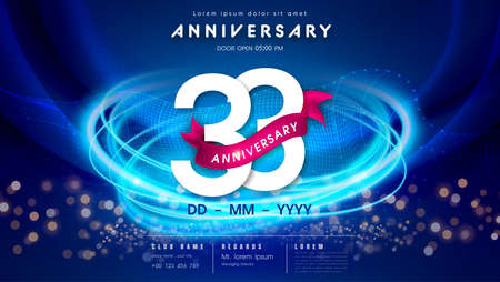 33 years anniversary  template on dark blue Abstract futuristic space background. 33rd modern technology design celebrating numbers with Hi-tech network digital technology concept design elements.