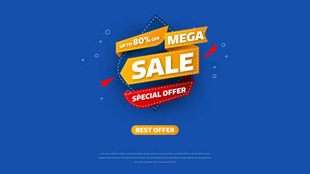 Sale banner template design with geometric background , Big sale special offer up to 80% off. Super Sale, end of season special offer banner. vector illustration.