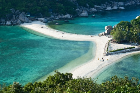 koh: La playa de arena en la isla de Nangyuan, Tailandia