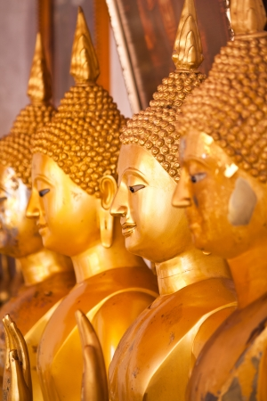 The group of golden buddha, Thailand Stock Photo