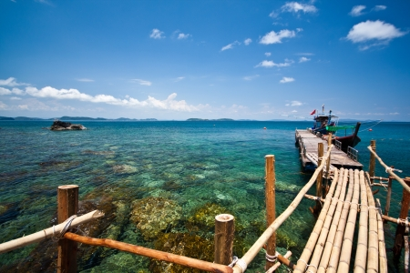 The wood bridge at Matra island, Thailand Stock Photo - 8946051
