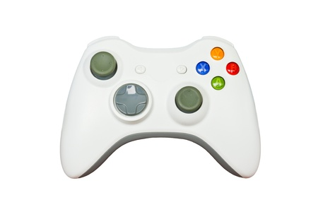 Game controller on white background photo