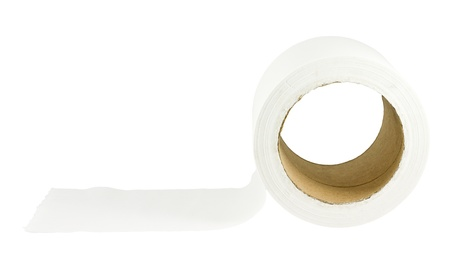 Roll of tissue paper on white background photo
