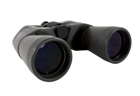 Old black binocular on white background