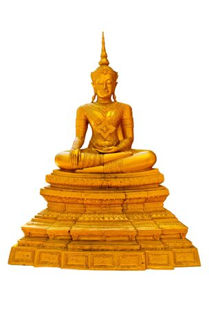 Golden Buddha statue, isolated on white background
