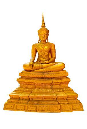 Golden Buddha statue, isolated on white background
