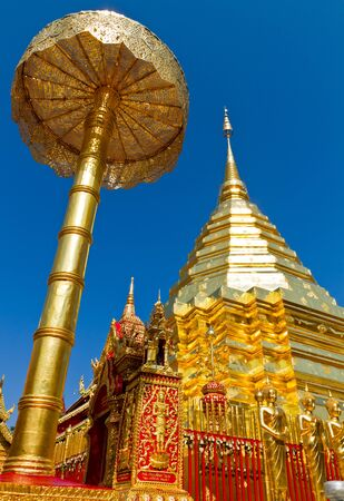 Golden pagoda at Doi Suthep in Thailand