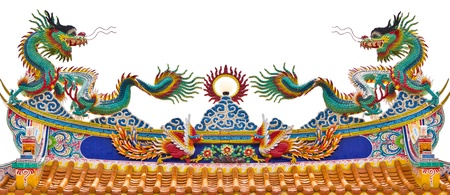 Chinese dragon on the roof over white background photo
